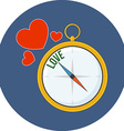 Compass points to love Flat design Icon in blue vector image