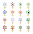 cute flower emoji on white background vector image vector image