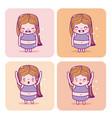 cute girl emojis vector image vector image