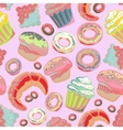 Cute seamless pattern with sweets and dessert vector image