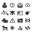 cybercrime icons set cyber hackers attacks vector image