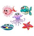 Five sea creatures vector image vector image