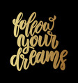 follow your dreams lettering motivation phrase vector image vector image