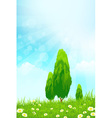 Fresh green grass with yellow bokeh and Trees vector image