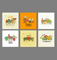 funny mushrooms banner set for your design vector image vector image