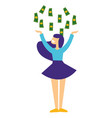 girl catching money falling down win or profit vector image