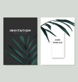 green palm leaves invitation card template design vector image vector image