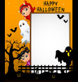 halloween sign with little white ghost and little vector image