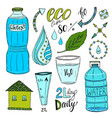 hand drawn set of water and recycle icons healthy vector image vector image