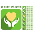 Heart Care Hands Icon and Medical Longshadow Icon vector image vector image