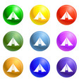 hiking tent icons set vector image vector image