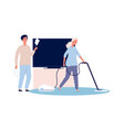 home cleaning couple doing housework woman and vector image vector image