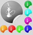 Hookah icon sign Set of eight multi colored round vector image