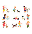 kids with dogs pet playing girl boy petting dog vector image vector image