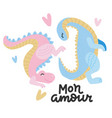 lovely playng two dinosaurs with heart joying to vector image vector image