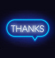 neon sign thanks in frame on dark background vector image