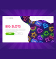 online slot - landing page mock up website vector image