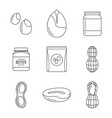 peanut nuts butter jar icons set outline style vector image vector image