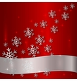 Red Plate with Snowflakes and White Ribbon vector image