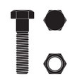 screw head nut and bolt black icon vector image
