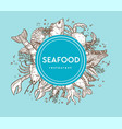 seafood restaurant promo banner with sketches of vector image