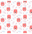seamless childish pattern with cute bears - boho vector image