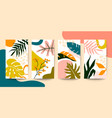 set abstract colorful floral art leaves on vector image vector image