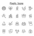 set magic related line icons contains vector image vector image