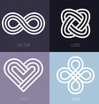 set of abstract line logos vector image vector image