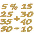 set of different numbers of discounts pencil vector image vector image