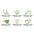 set of medical stethoscope heart pulse logo vect vector image vector image