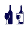 set wine bottles with wineglasses icons vector image