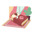 sleeping woman in bed under blanket on pillow vector image
