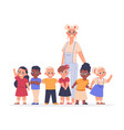 teacher with kids happy children and young female vector image vector image