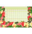 timetable weekly schedule with hibiscus various vector image vector image