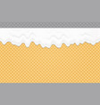 whipped cream melted on wafer background cream vector image
