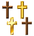 Wood and gold cross set vector image