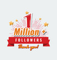 1 million followers or subscribers achivement vector image vector image