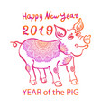 2019 zodiac red pig happy new year 2019 chinese vector image vector image