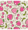 Background with strawberry and cherry vector image