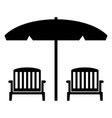 beach chairs with umbrella vector image vector image