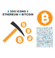 bitcoin mining hammer flat icon with set vector image vector image