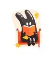 Black Tar Jelly Rabbit Shape Monster Reading A vector image vector image