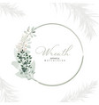 botanic wreath leaves and branches with vector image