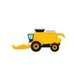 bright yellow combine harvester agricultural vector image
