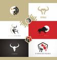 bull emblems logos signs symbols vector image