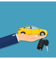 Car seller hand giving key to buyer vector image vector image