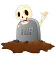 cartoon skull in graveyard isolated white backgrou vector image