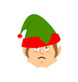 christmas elf sad emoji santa helper sorrowful vector image