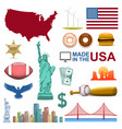 collection icons united states usa sign vector image